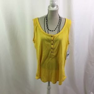 a.n.a ribbed tank top yellow maize Large